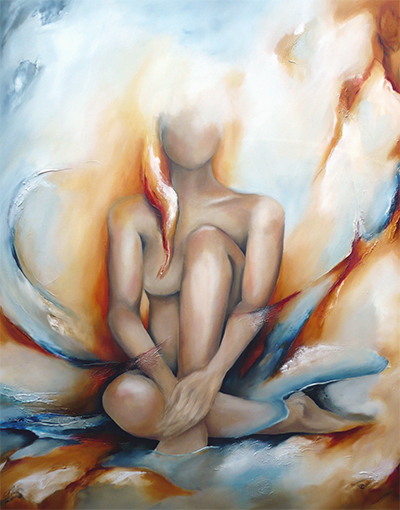 Vrouw, Godin, abstract, schlderij, interieur