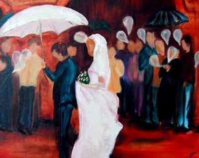 Bruiloft, wedding, paint, oilpaint, bruiloft, feest, ballonnnen,