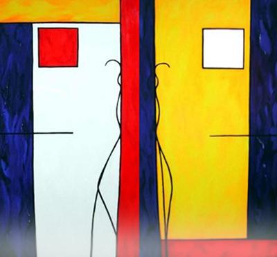 Olieverf op doek, Tweeluik, 2x80 *160